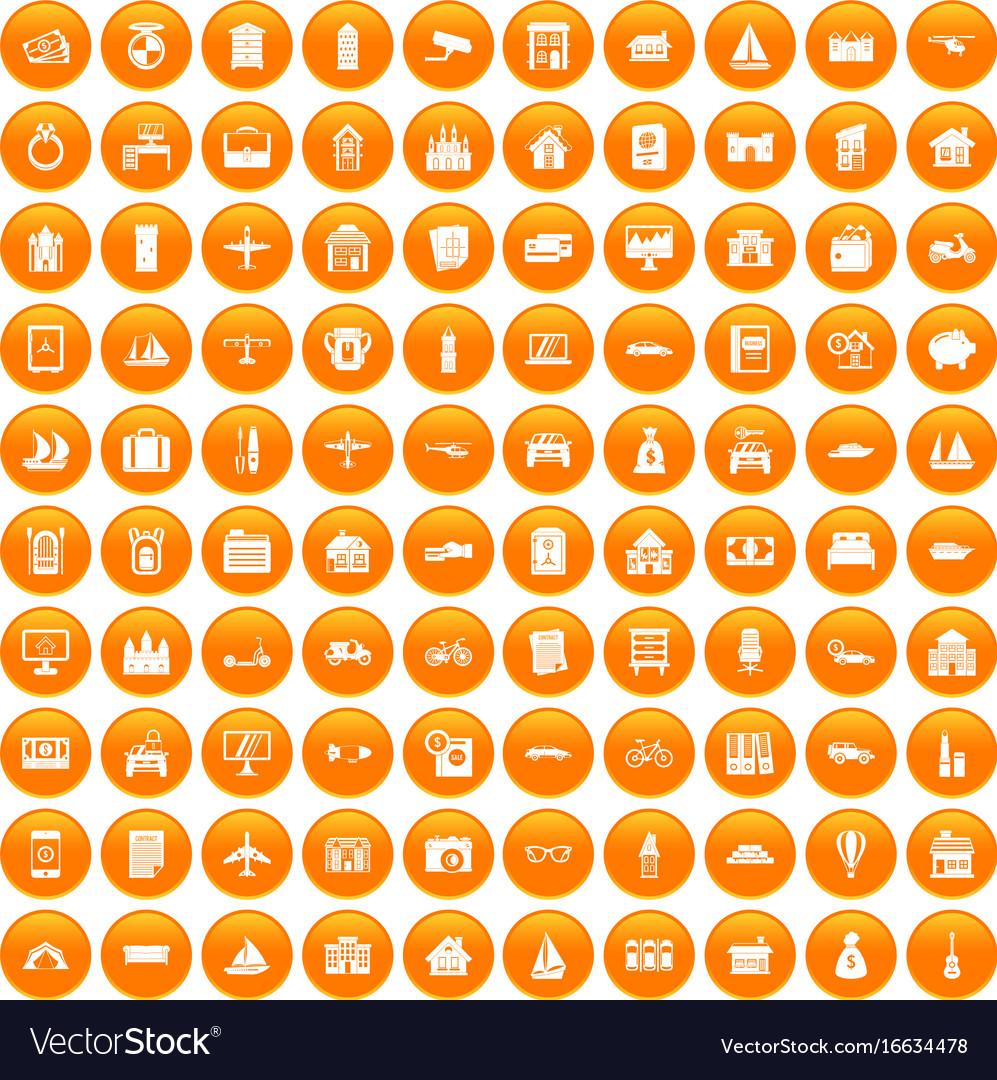 100 property icons set orange