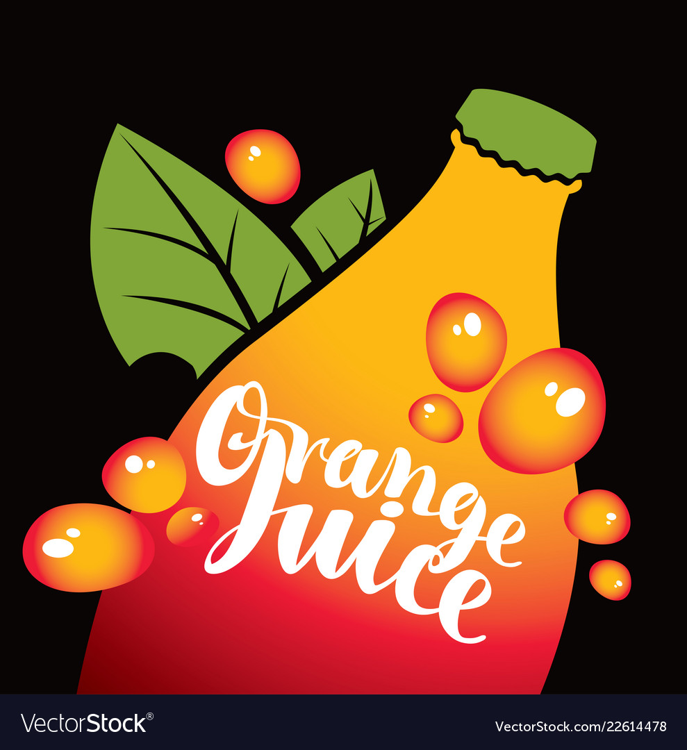 Banner for orange juice with bottle and leaves