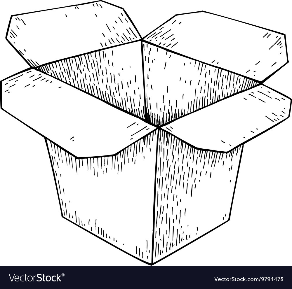 Chinese food box drawing Isolated