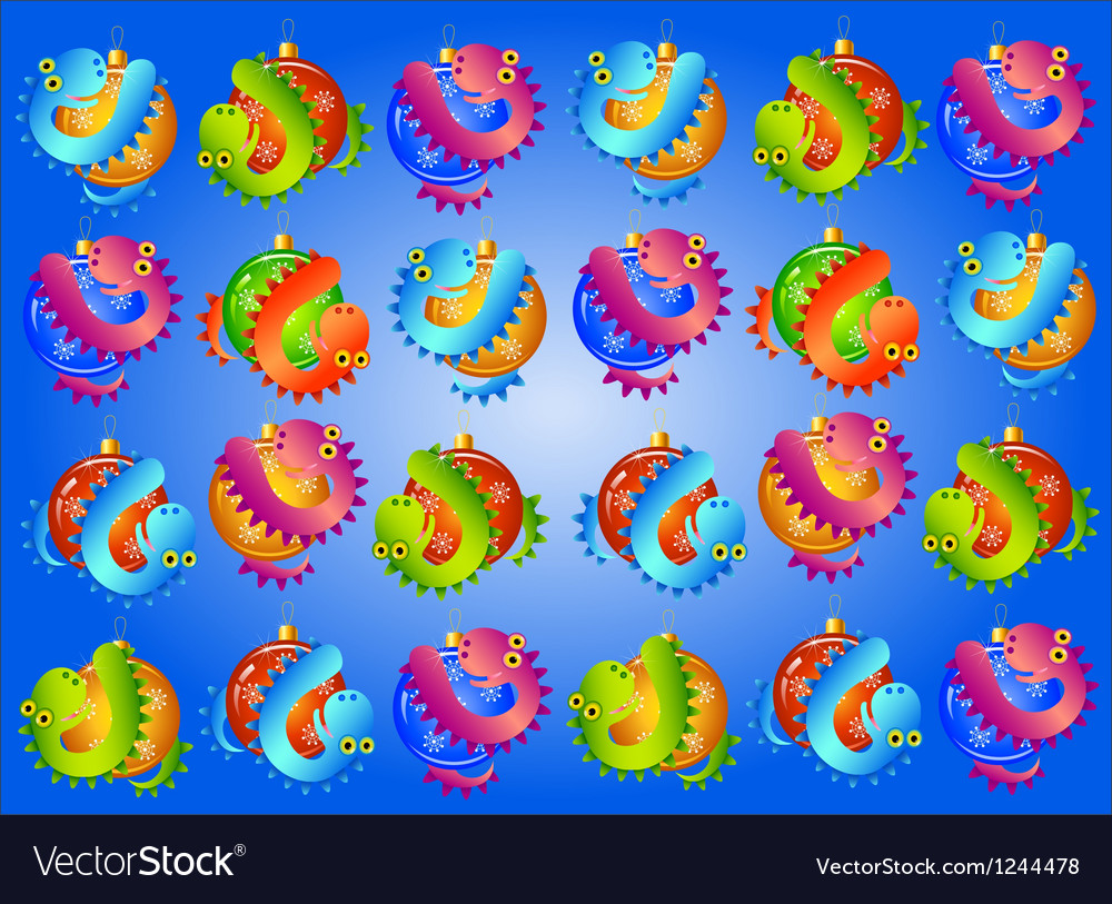 Christmas background with balls and snakes