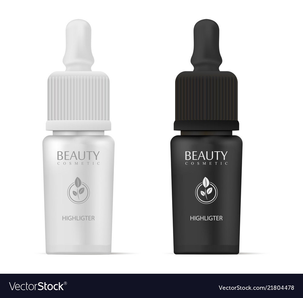Cosmetics highligter bottles with dropper in black