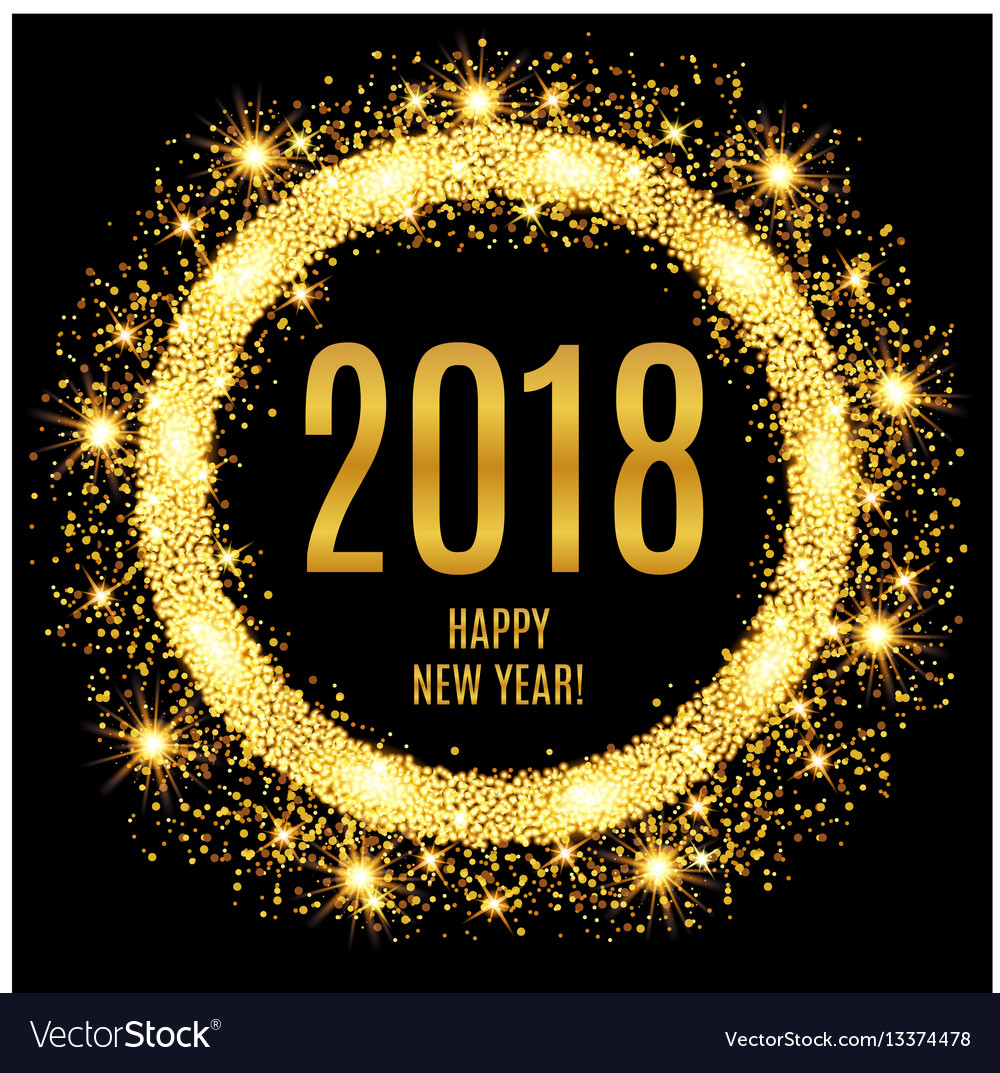 Happy new year glowing gold background