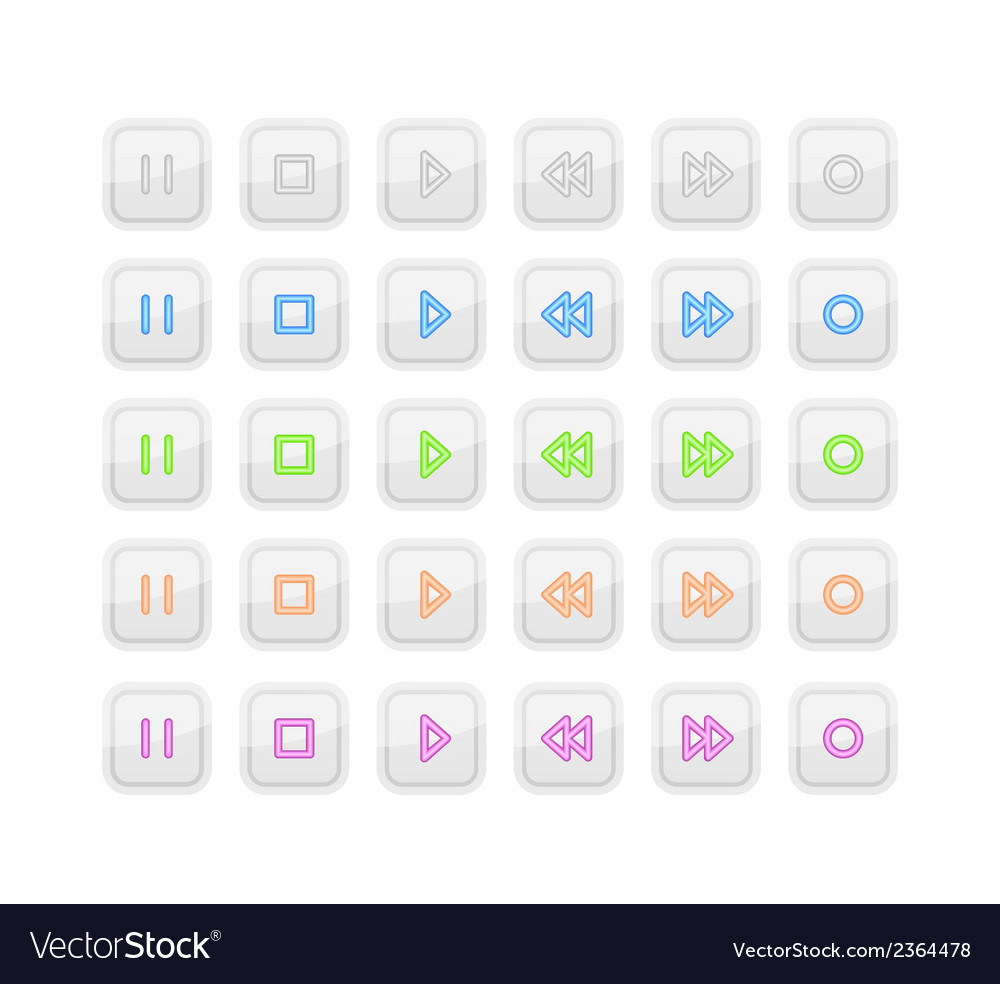 Light Media Stop and Play Buttons with Neon Icons