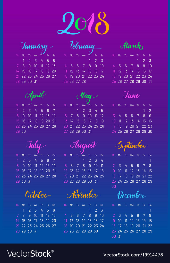 plain wall calendar 2018 year lettering flat vector image