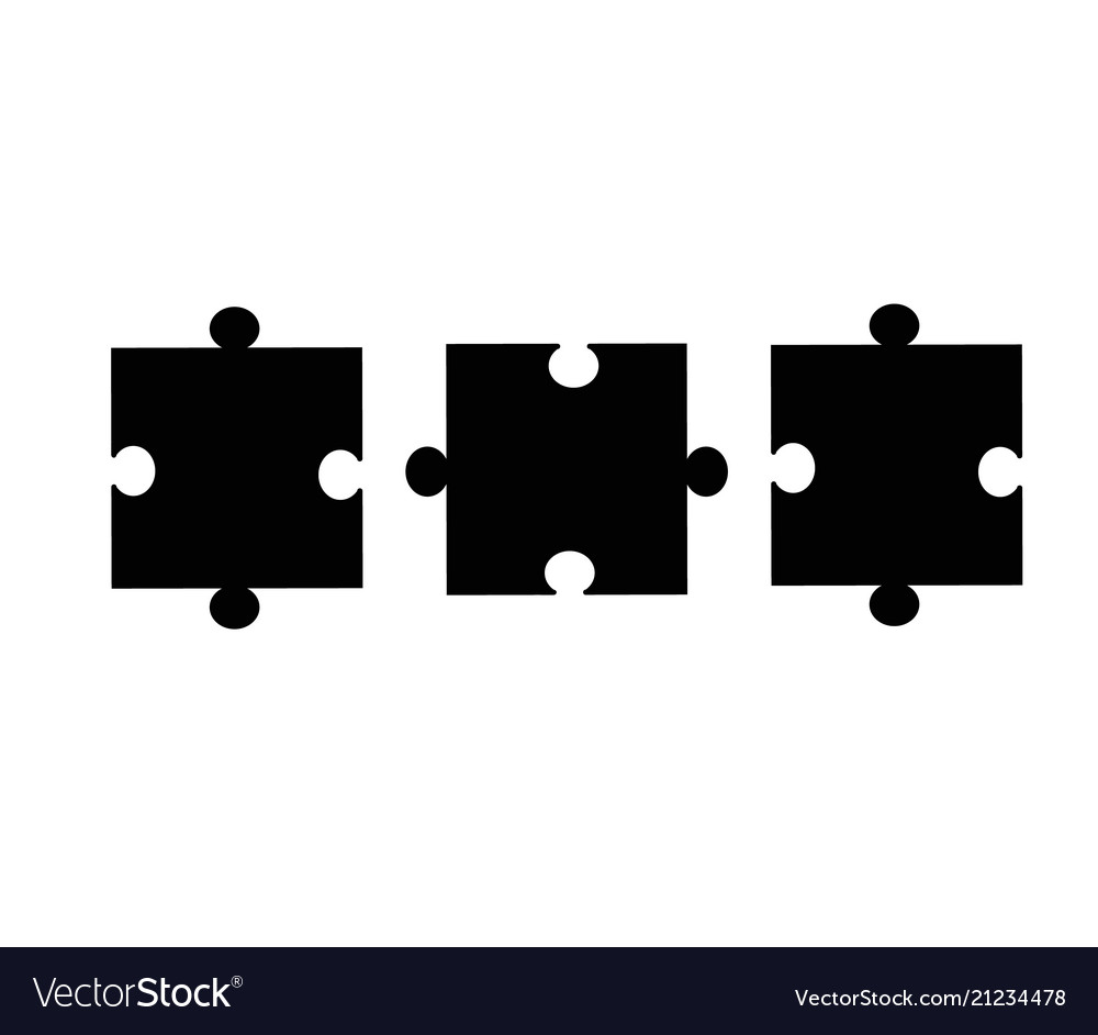 Puzzle pieces icon on white background flat