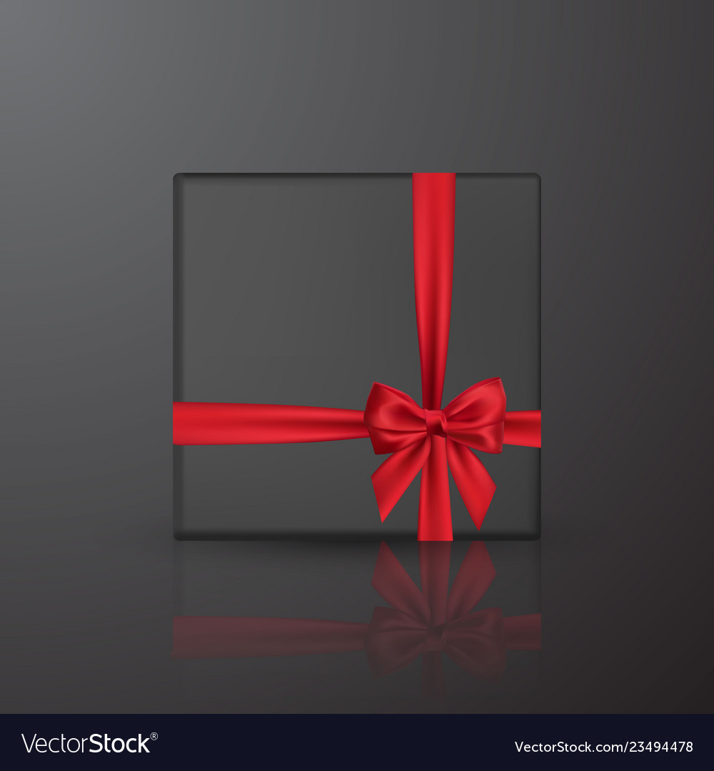 Realistic black gift box with red bow and ribbon