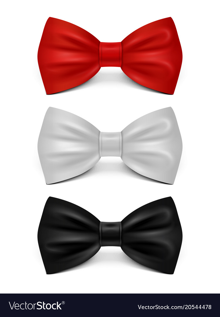 Realistic bows isolated on white background