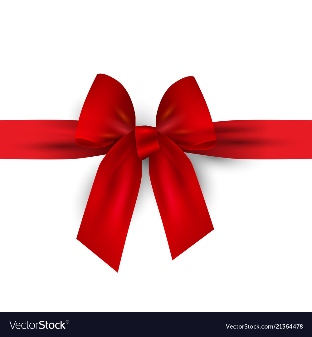 Red bow with ribbon isolated on white