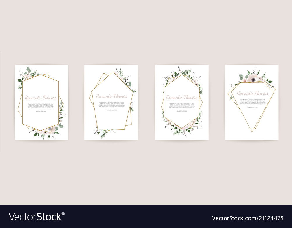 Set botanic card with wild flowers leaves floral