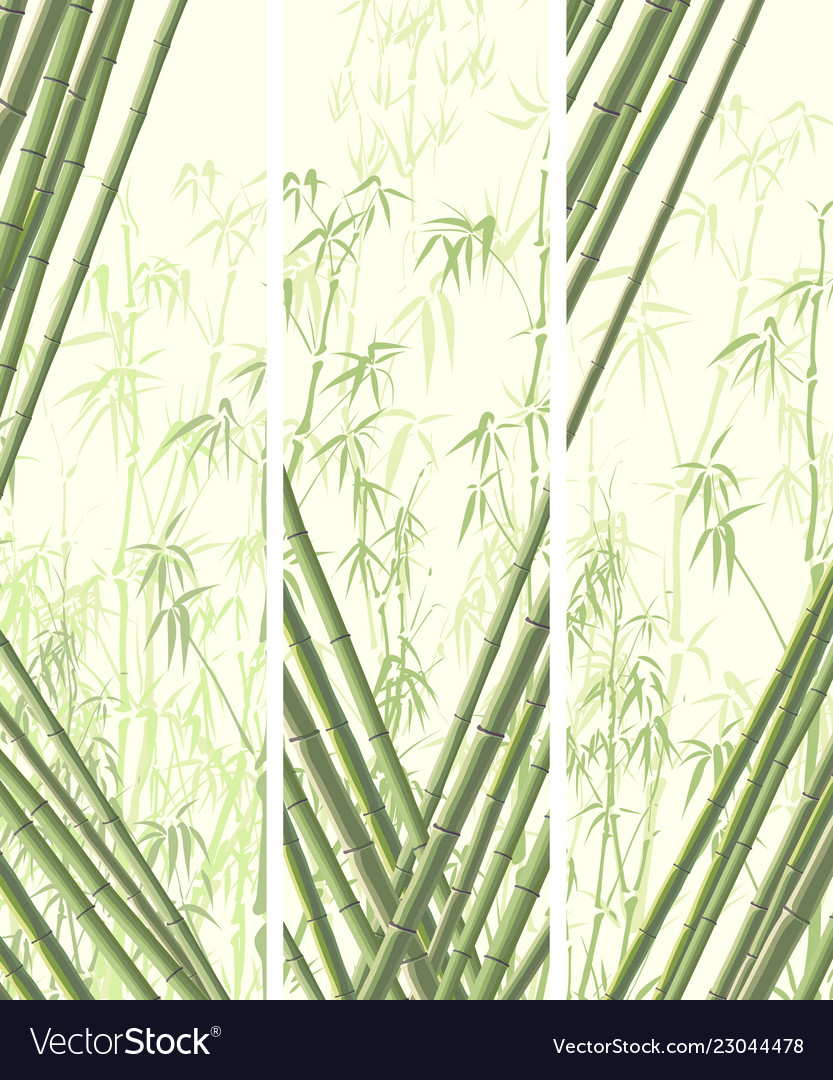 Set of vertical banner with many bamboos