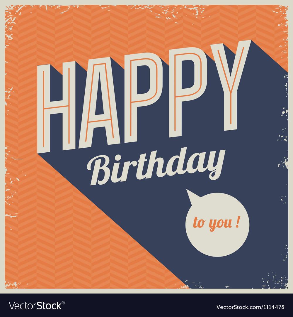 Vintage Retro Happy Birthday Card Royalty Free Vector Image