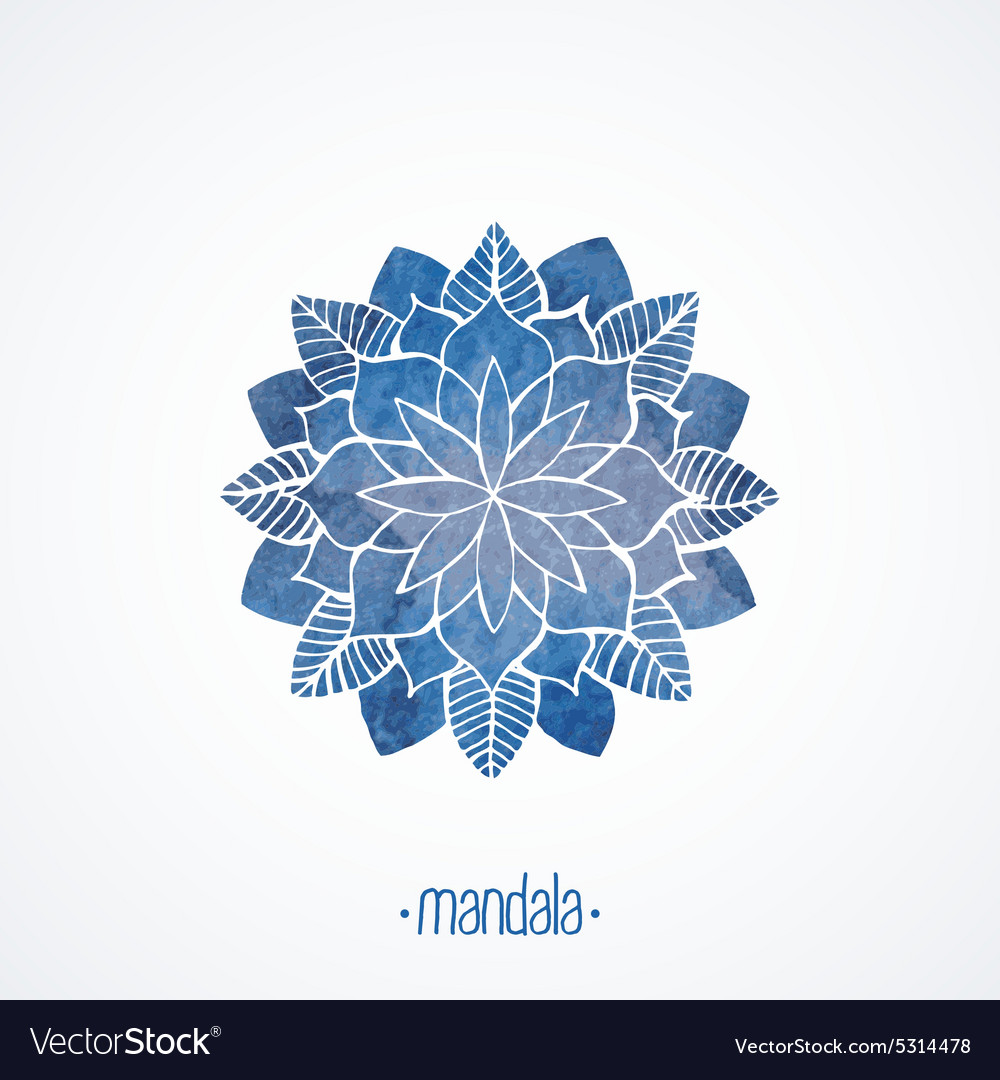 Watercolor blue flower symbol mandala