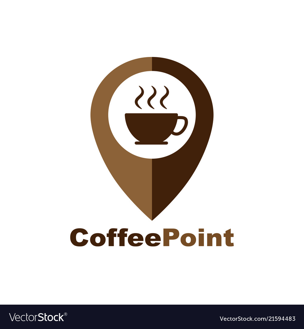 Coffee cup house cafe logo design pointer and a