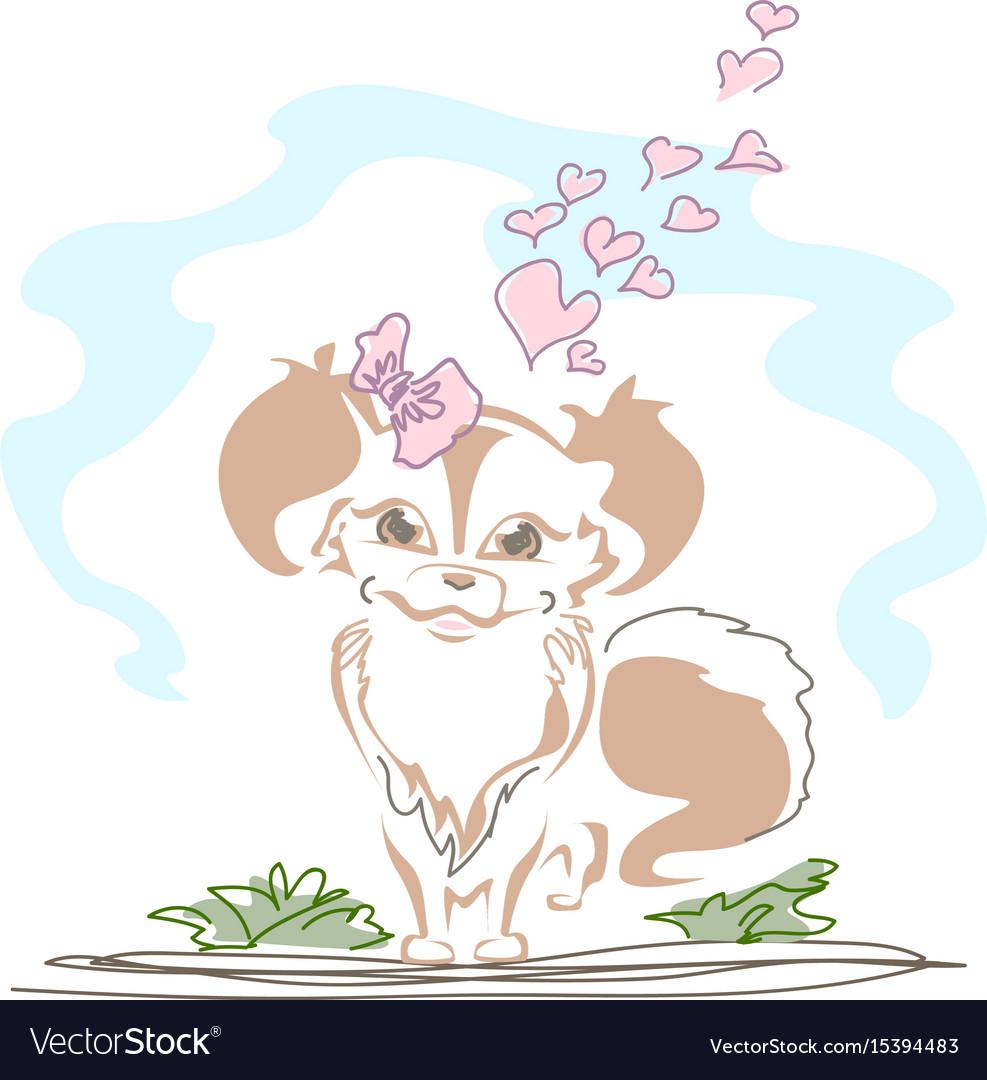 Cute little dog in love