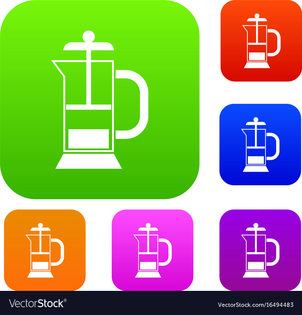 French press coffee maker set collection vector image