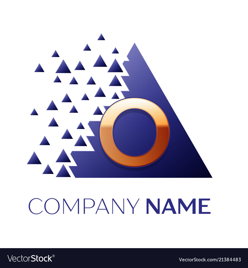 golden letter o logo symbol in blue pixel triangle vector image