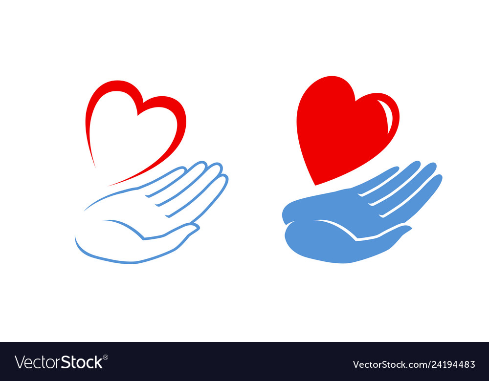 Heart in hand logo or label charity icon