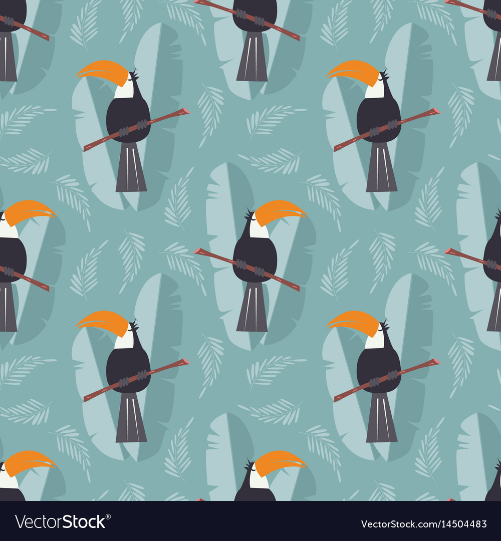 Seamless pattern with cute jungle parrot toucan