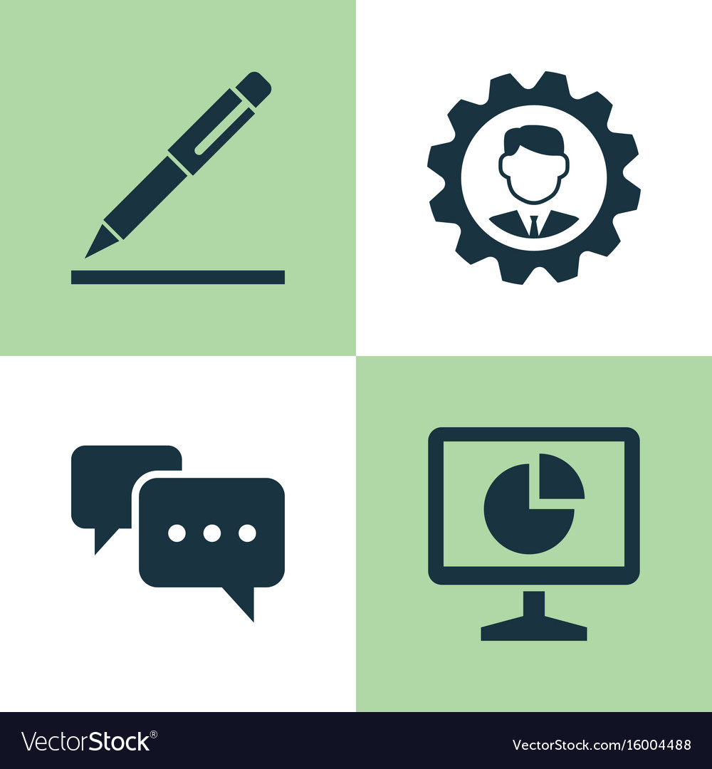 Business icons set collection of pen chatting