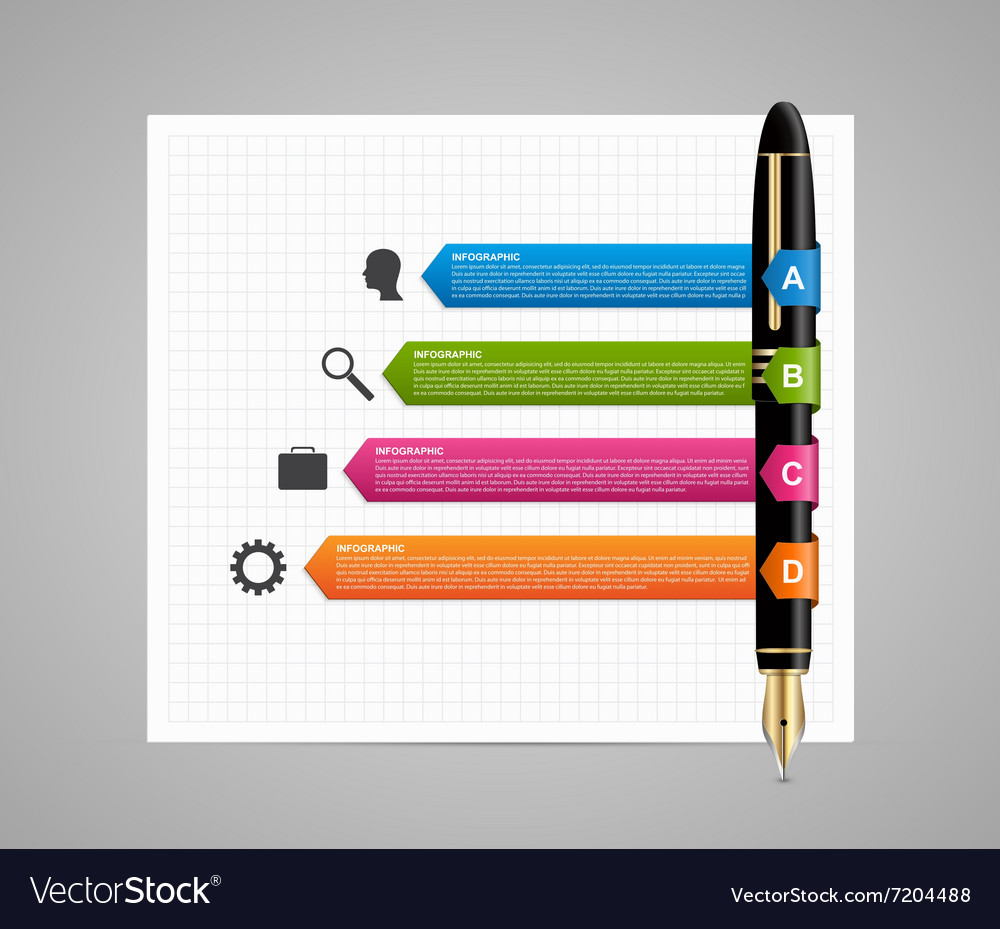Business infographic design template Colored ink