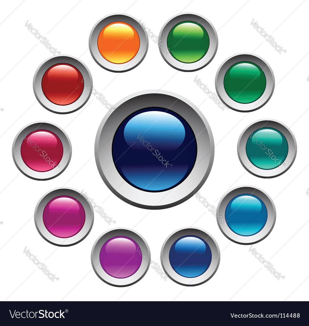 Color buttons set vector image