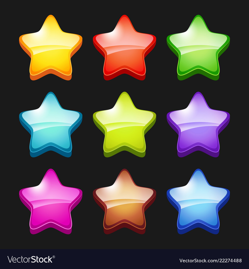 Colored cartoon stars shiny games crystal icons