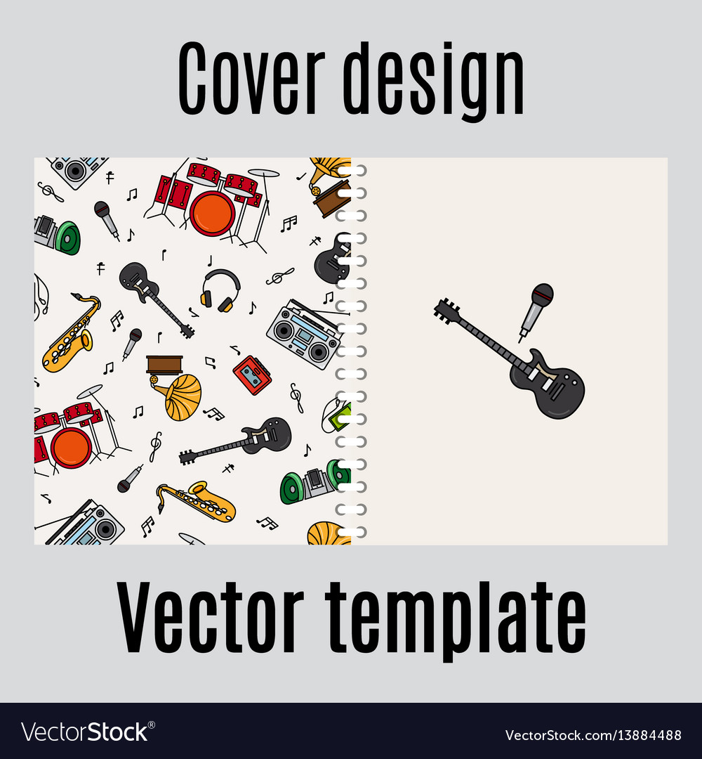 Cover design with music instrument pattern