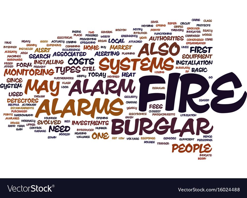 Fire Burglar Alarm Text Background Word Cloud Vector Image Circuits