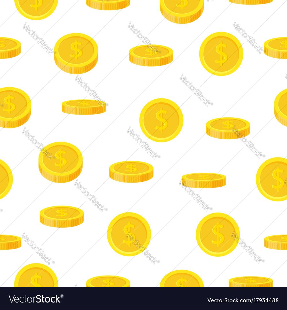 Golden coin seamless pattern in flat style cash