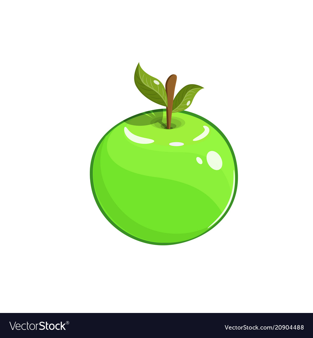 Green apple with stem and