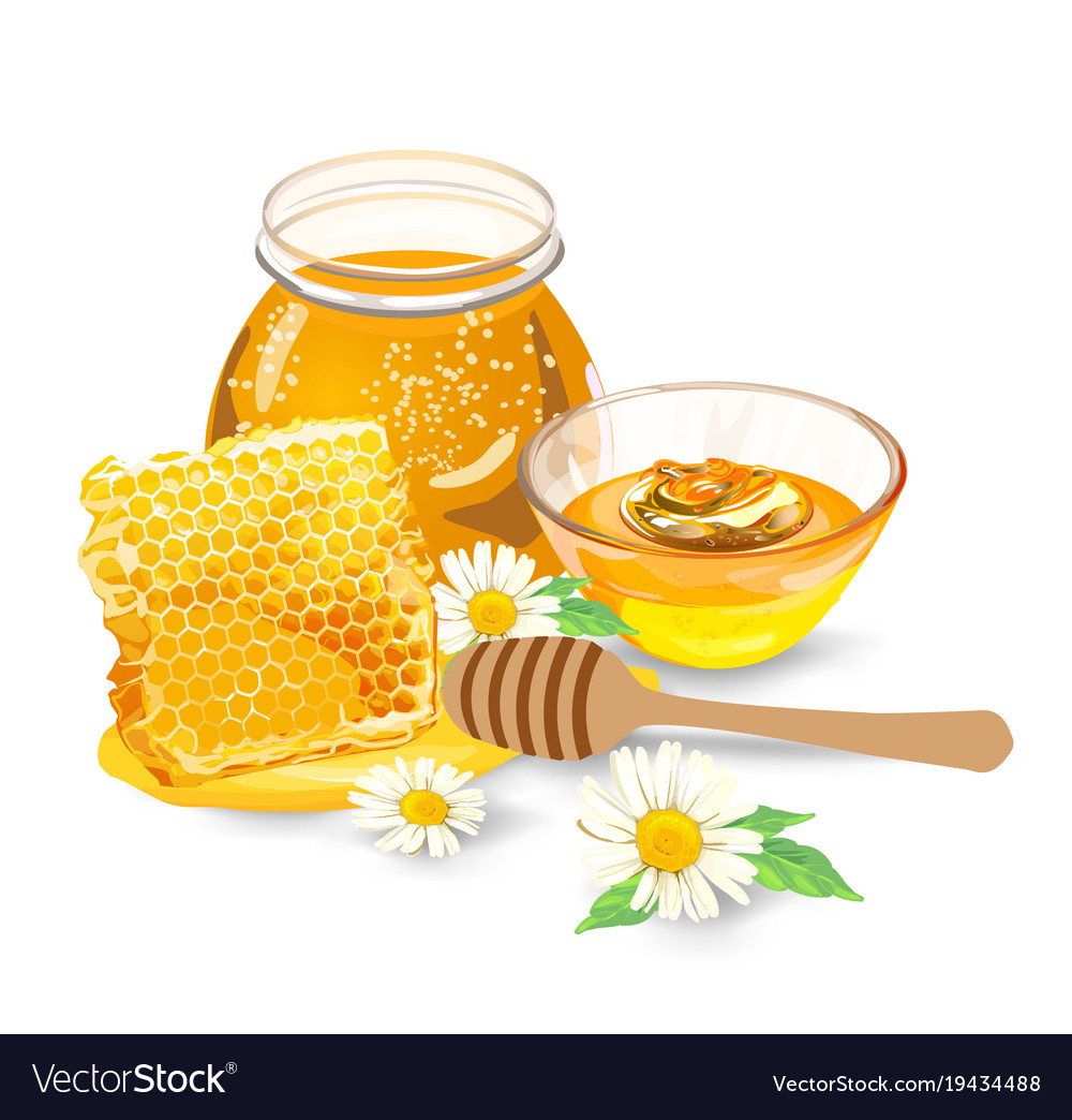 Honey with wood stick and flowers