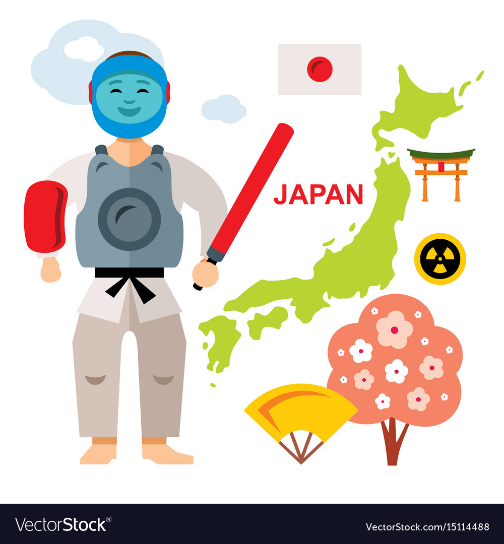 Japan travel concept flat style colorful