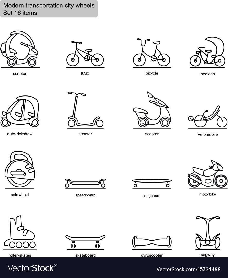 Linear modern city transport icons set