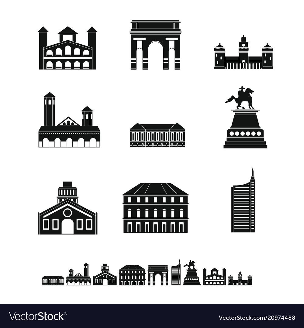 Milan italy city skyline icons set simple style