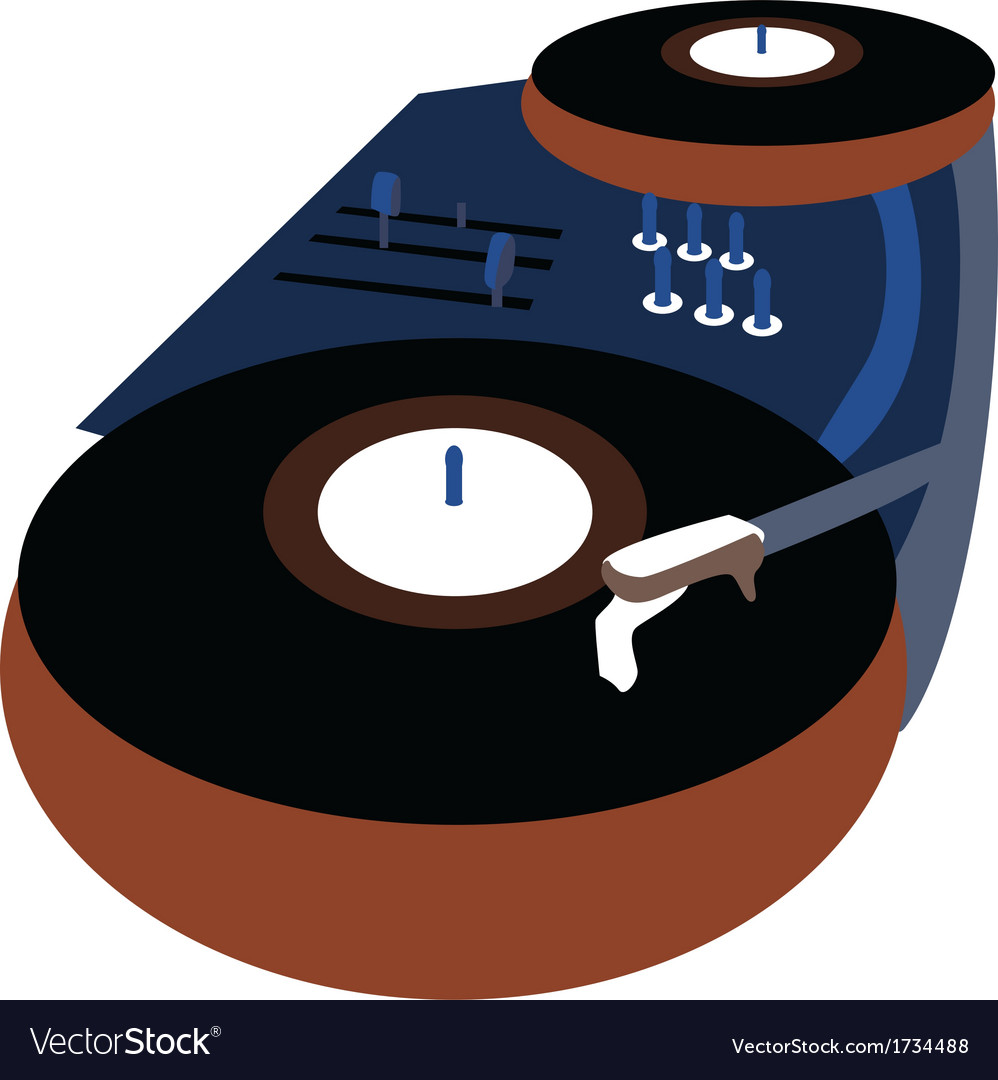 Music Event poster with Vinyl playing gramophone