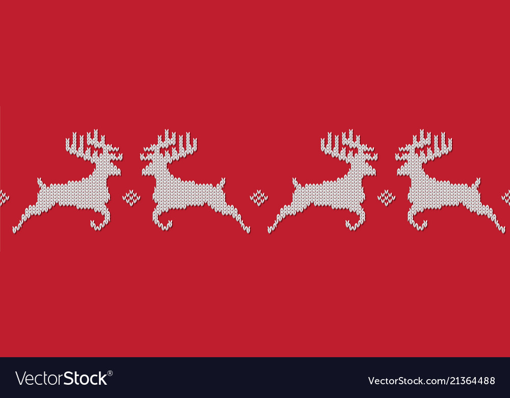 Red knitted christmas seamless pattern with deers
