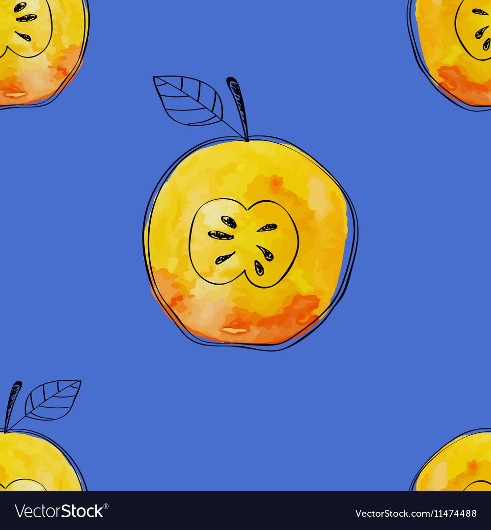 Seamless pattern of watercolor yellow apple