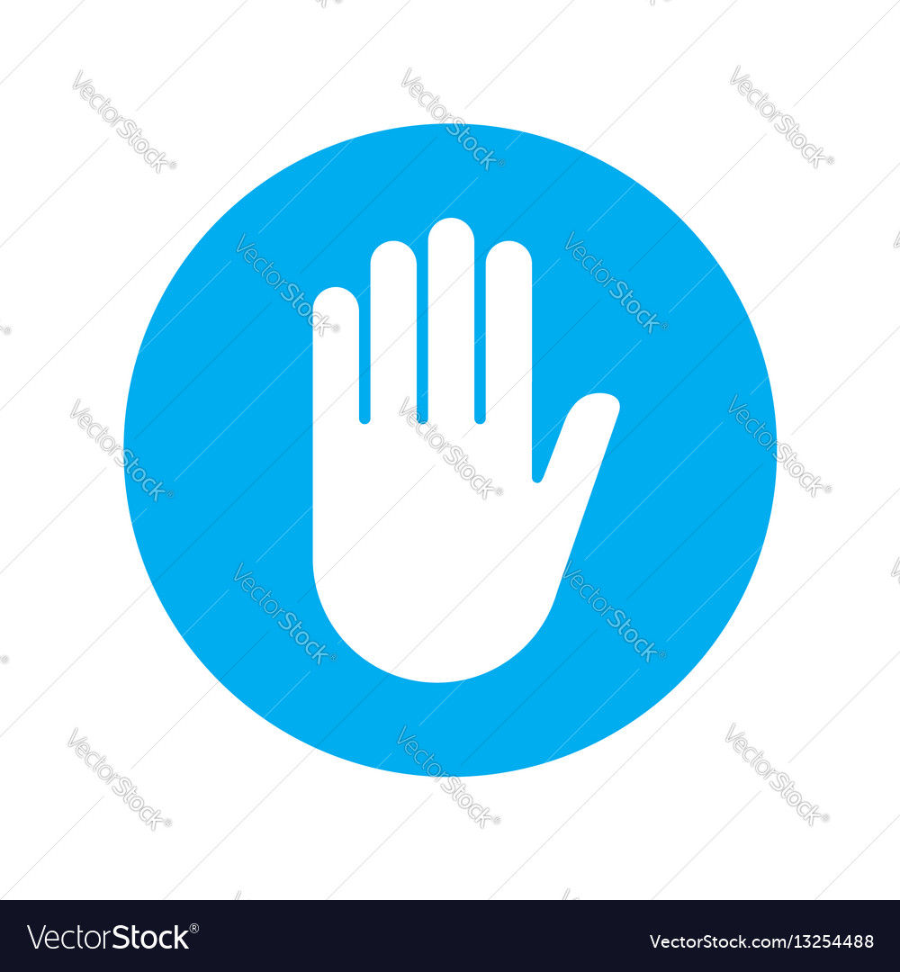 Sign push hand blue icon vector image