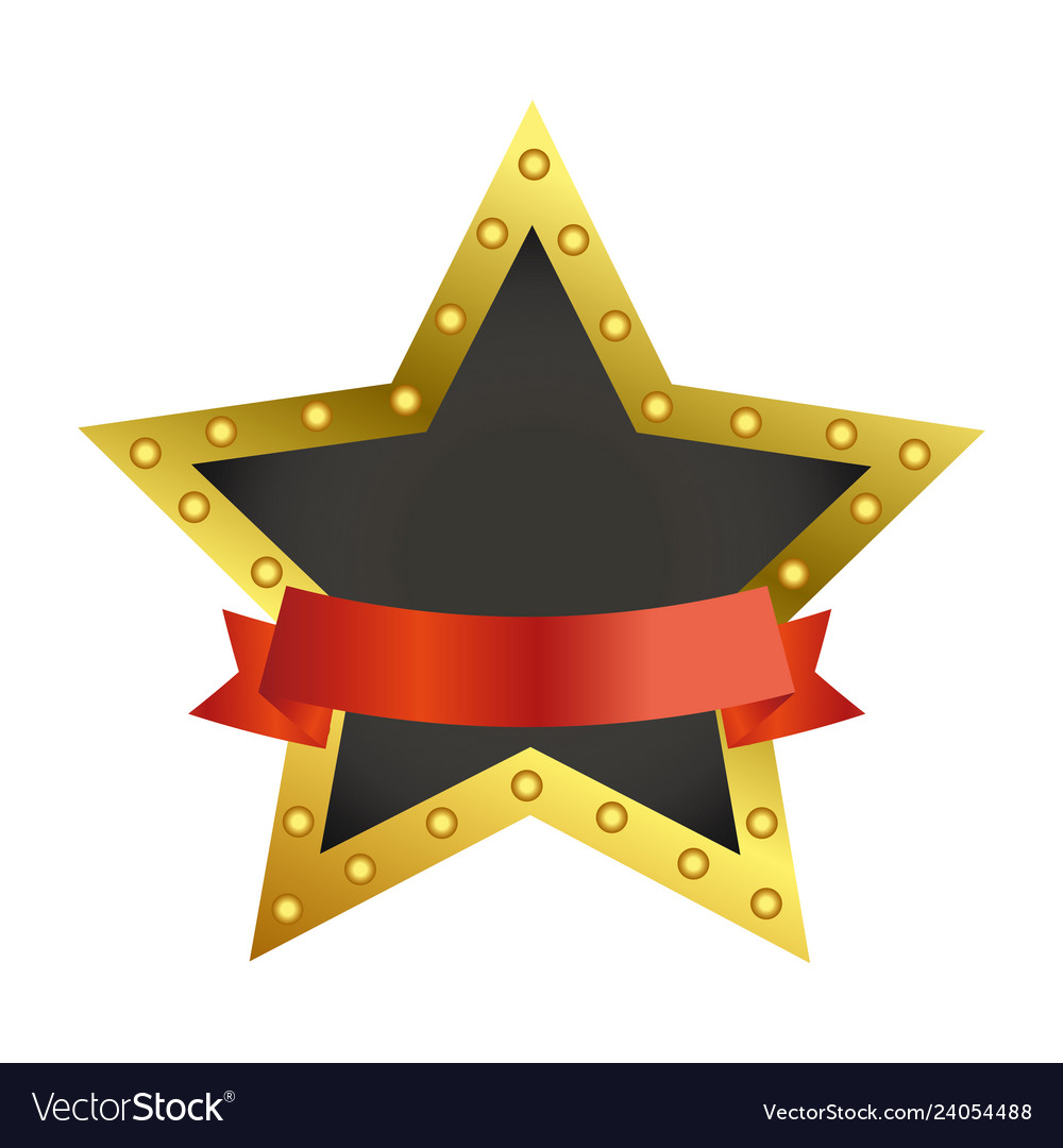 Star award symbol with blank ribbon banner