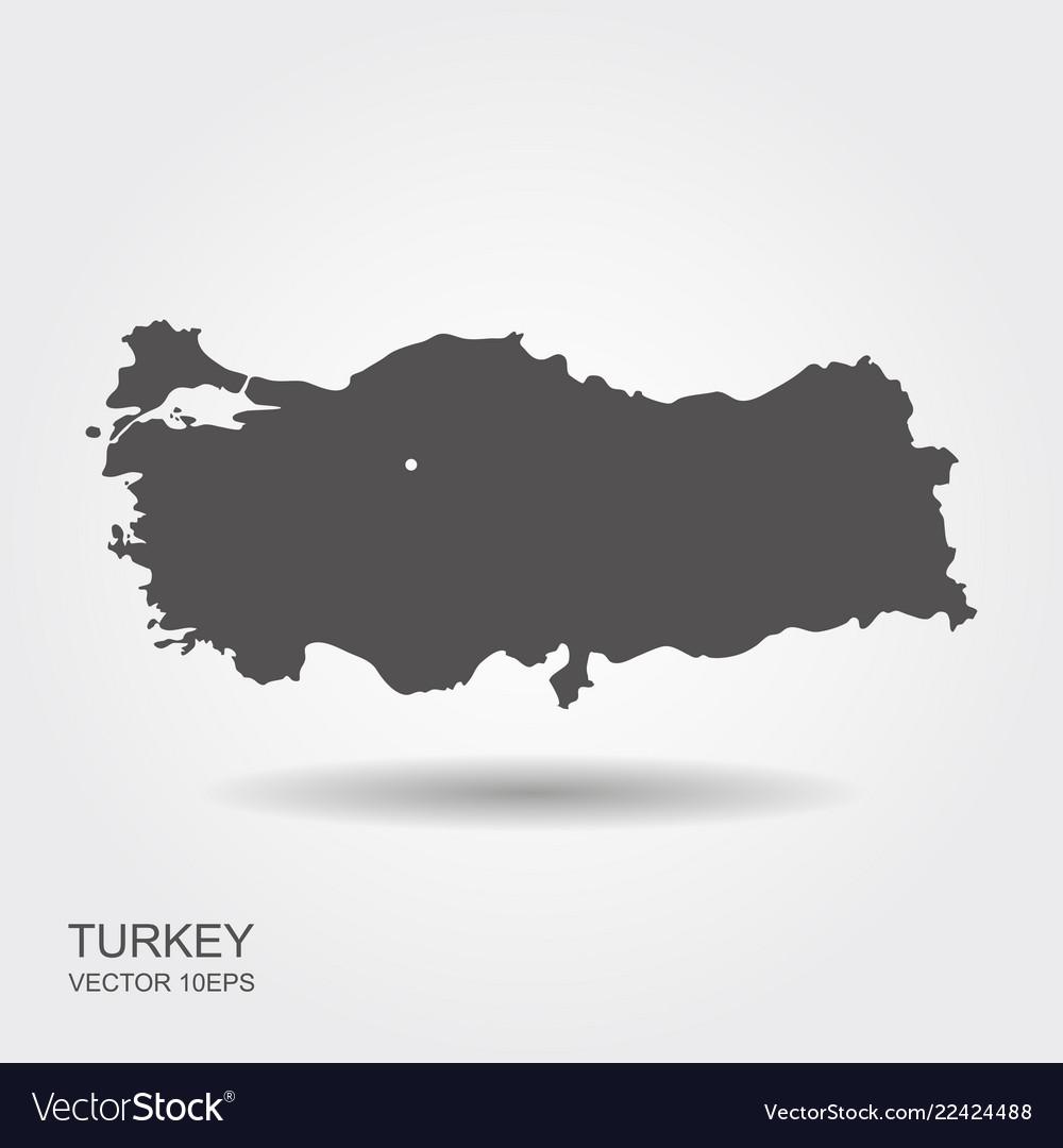 Turkey map flat icon with shadow