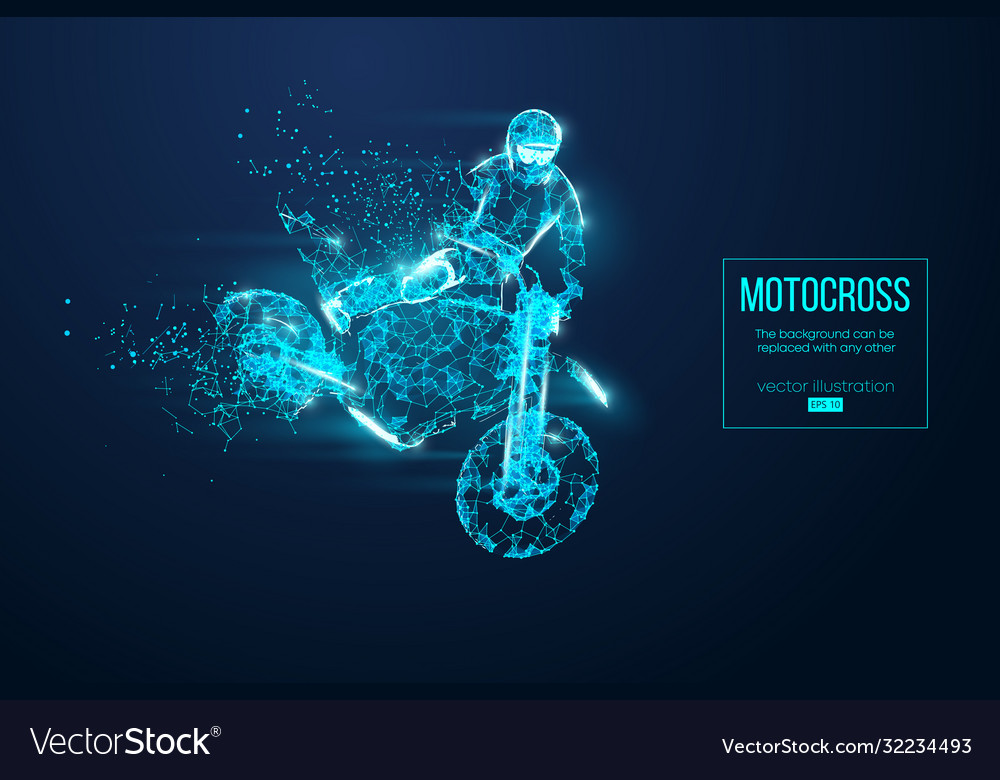 Abstract silhouette a wireframe motocross rider