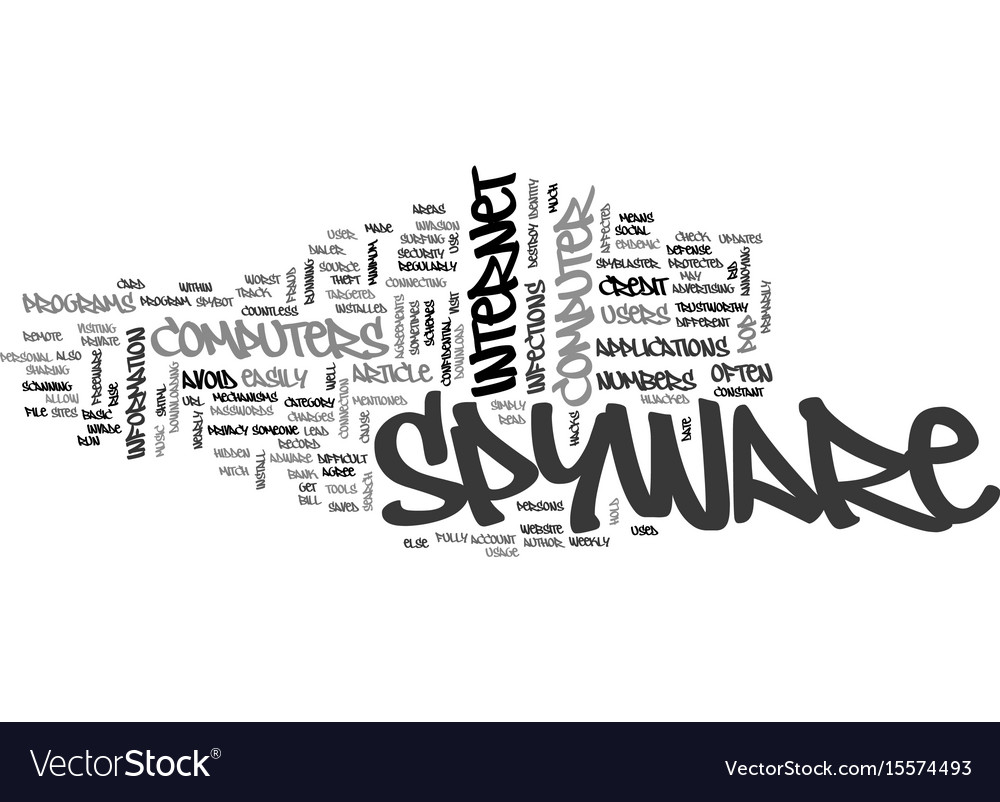 Basic Spyware Defense Mechanisms Text Word Cloud Vector Image