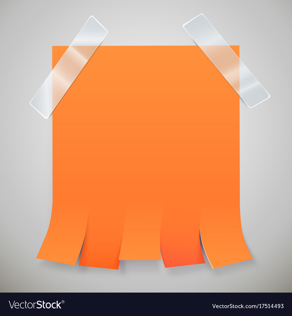 blank orange advertisement with tear off tabs and vector image