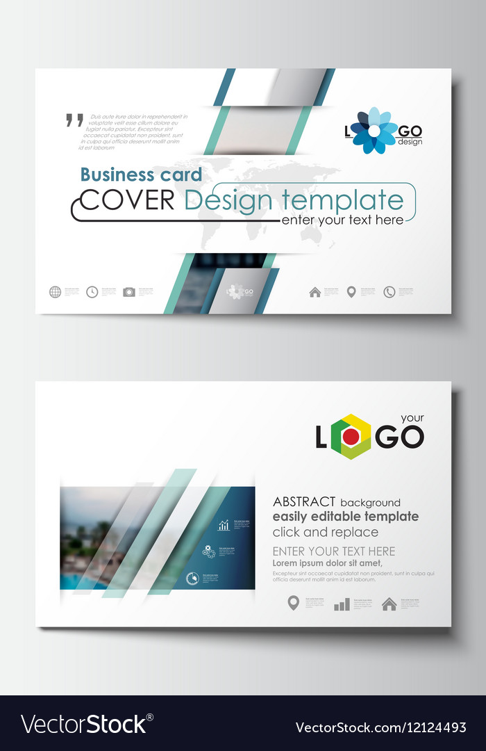 Business card templates flat design blue color vector image cheaphphosting Gallery