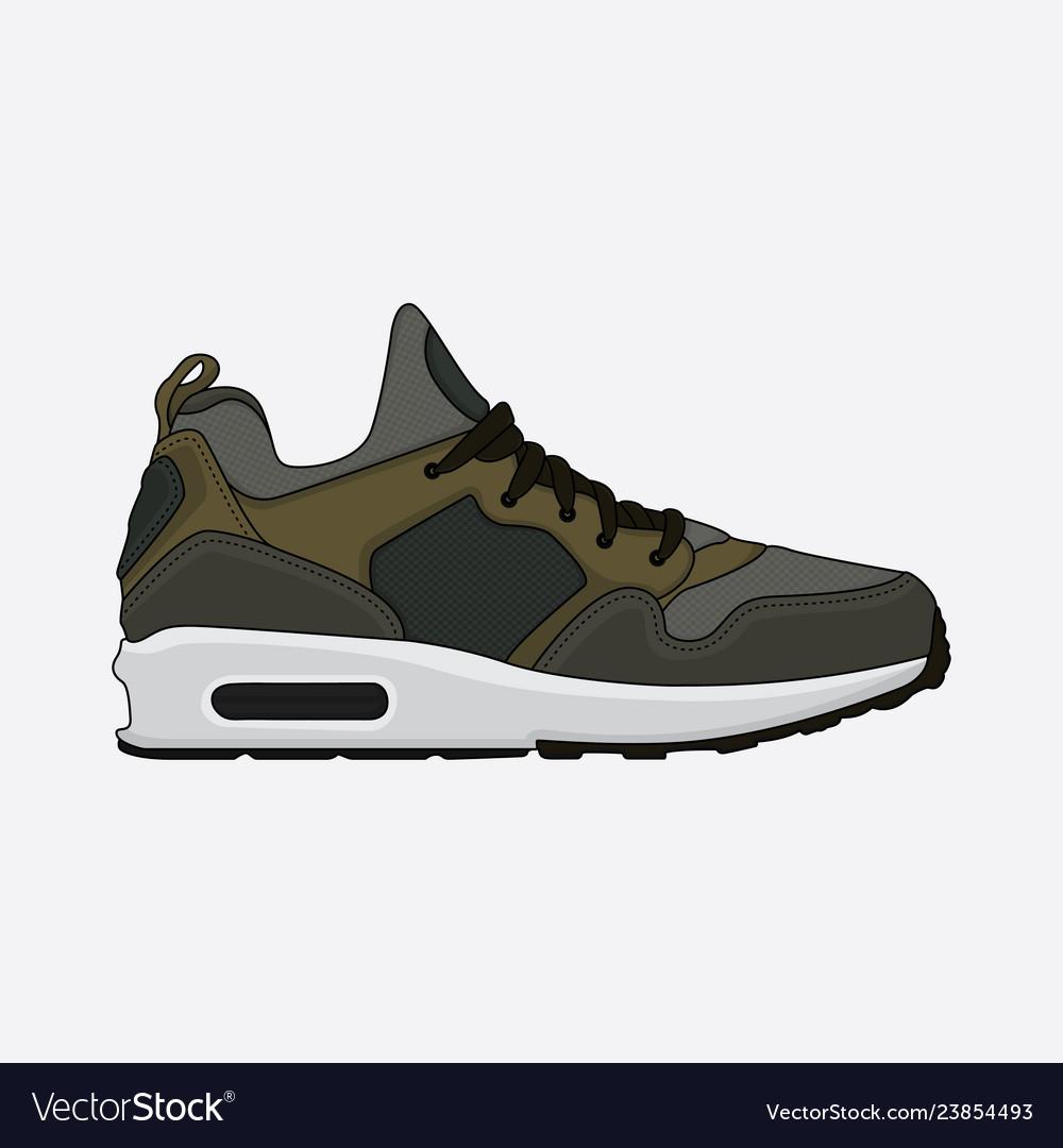 Design sneakers dark green Royalty Free
