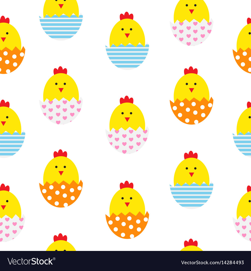 Easter egg and chicken seamless pattern background