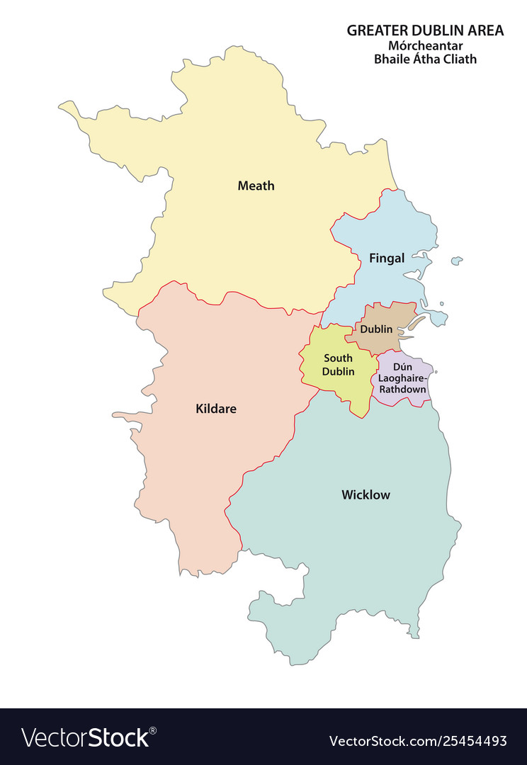 Greater dublin area administrative map on