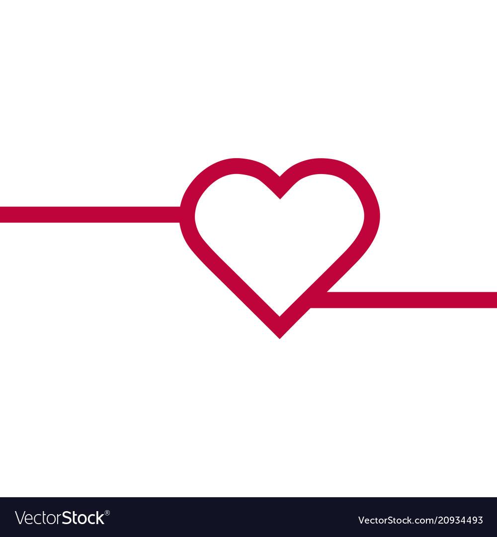 Heart red icon line love symbol valentine s