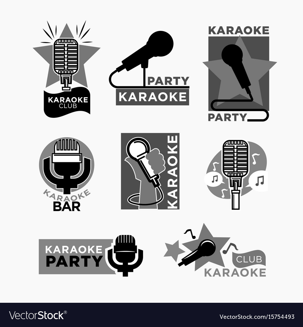 Karaoke club disco party labels templates of Vector Image