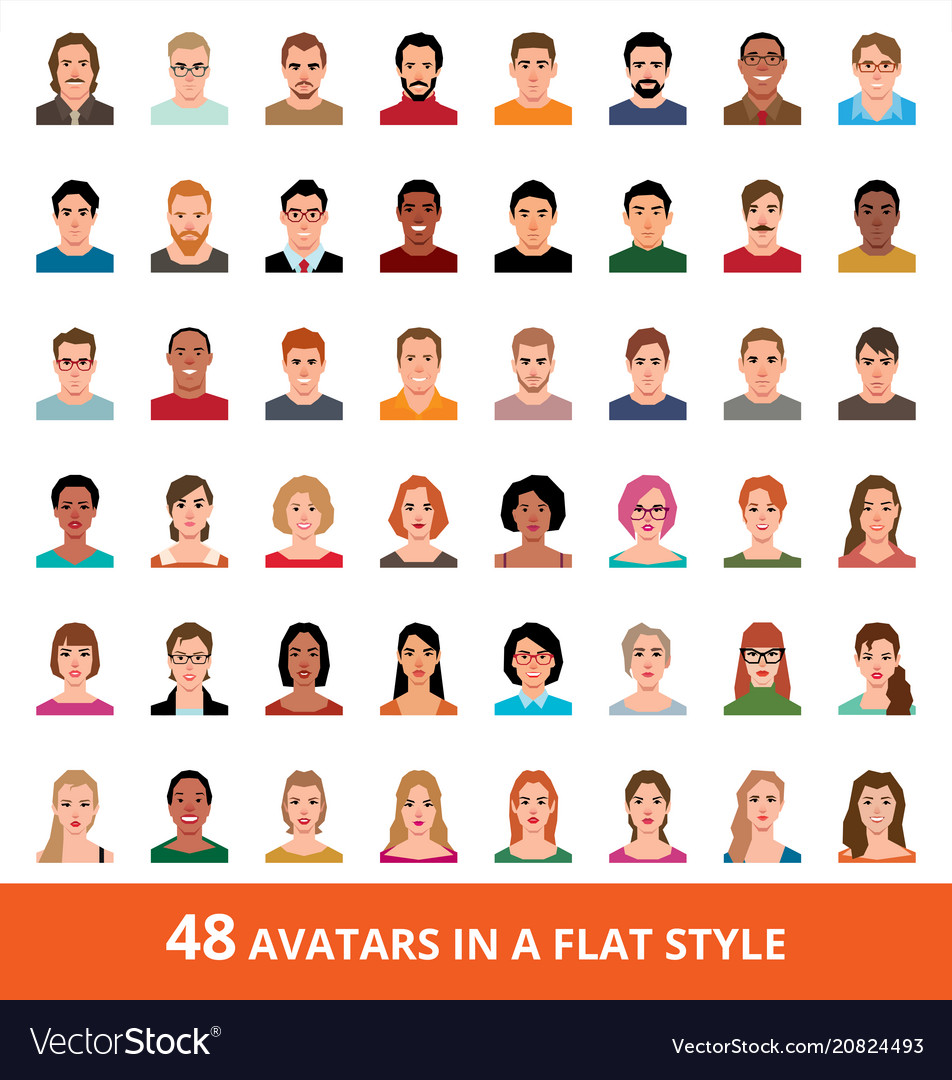 Large set of avatars of men and women in a flat
